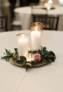 simple decorations candle wedding centerpiece purple and greenery centerpiece