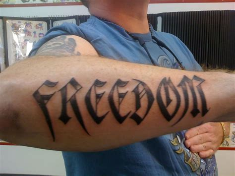 freedom tattoos for men 35 unique word tattoos for