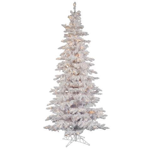 9 foot flocked white slim spruce christmas tree clear