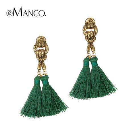 Etnic Tassel Earrings Gold Plated emanco 8 color trendy ethnic bohemia tassel drop dangle statement earrings for antique