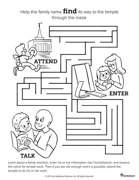 printable lds mazes lds family history and temple maze coloring activity page