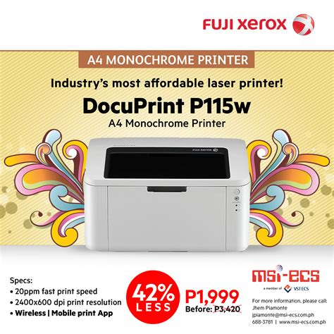Toner Printer Fuji Xerox P115w fuji xerox slashes price of docuprint p115w laser printer