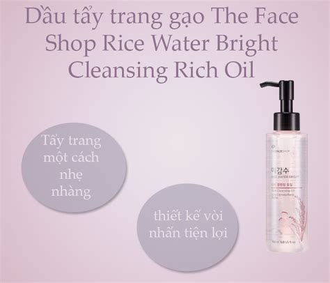 The Faceshop Rice Water Bright Cleansing Wipes dầu tẩy trang gạo the shop rice water bright cleansing rich