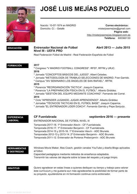 Modelo De Curriculum Para Jugador De Futbol Misterjosemejias Curriculum Entrenador Nacional De