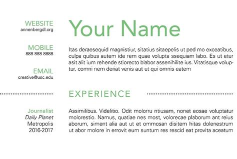 How To Make A Simple Resume by How To Create A Simple Resume Using Indesign Annenberg