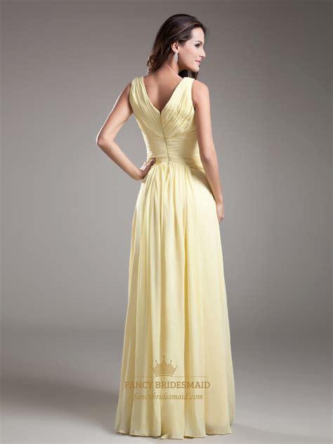 light yellow bridesmaid dresses elegant light yellow v neck sleevless ruched chiffon