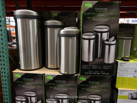 home zone trash can home zone stainless steel trash can set