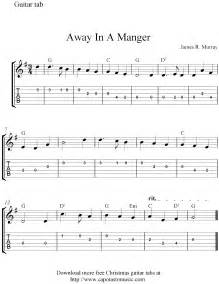 Free easy christmas guitar tablature sheet music away in a manger