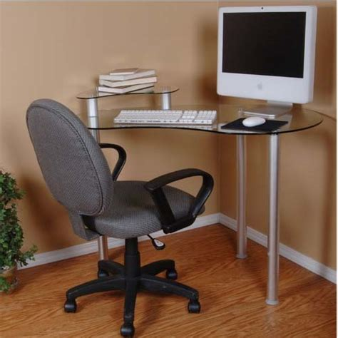 Laptop Corner Desk Rta Tier One Designs Clear Glass Corner Computer Desk With Monitor Stand Silver T1d 122
