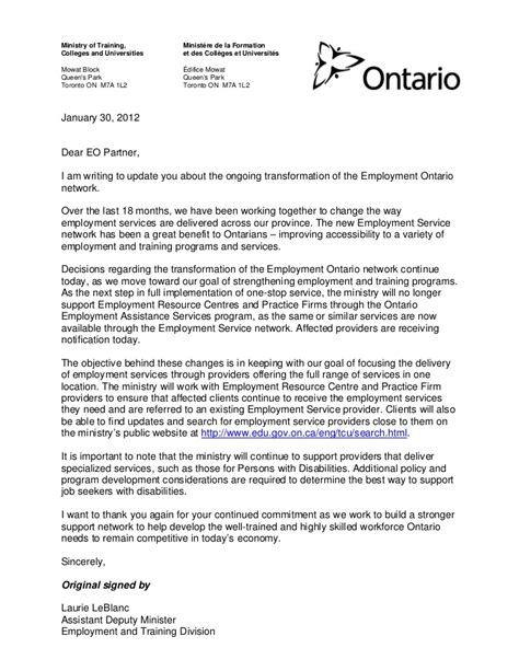 Employment Letter Ontario Employment Ontario Cuts Ercs Practice Firms Jan 30 12