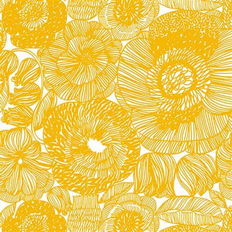 Indian Home Decor Items by Marimekko Geranium White Yellow Fabric Marimekko Cotton