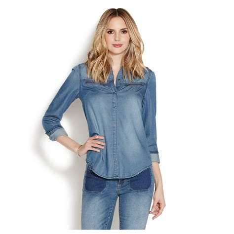 woman hair styles shirt in front longer in back zipper chambray shirt shoedazzle