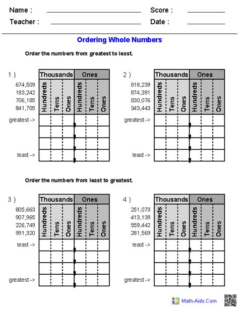 Comparing And Ordering Whole Numbers Worksheets 4th Grade greater than less than worksheets math aids