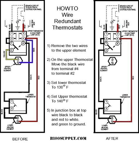how to wire water heater thermostat
