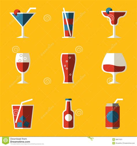 cocktail icon vector flat icon set drink cocktail stock illustration image