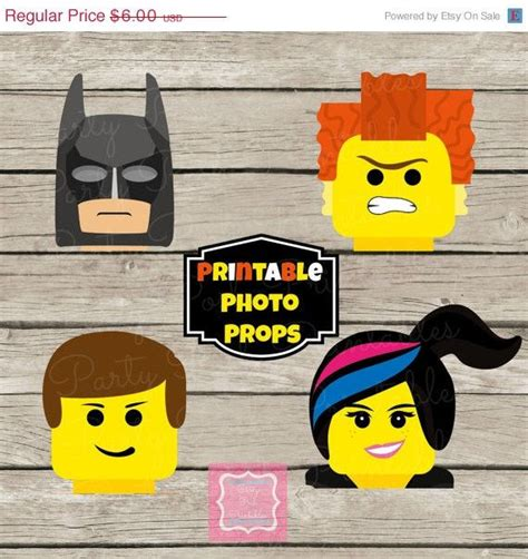 free printable lego photo booth props on sale photo booth props instant download lego movie
