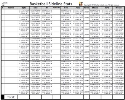 basketball stat sheet new calendar template site