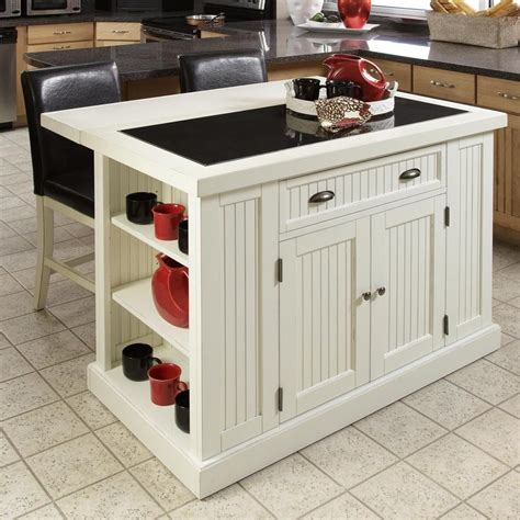 home style kitchen island shop home styles white midcentury kitchen island at lowes