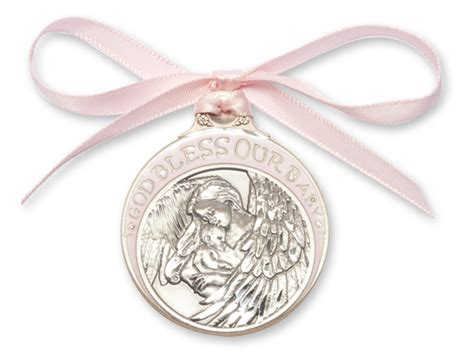 Crib Medals by Pink Enamel God Bless Our Baby Crib Medal Silver