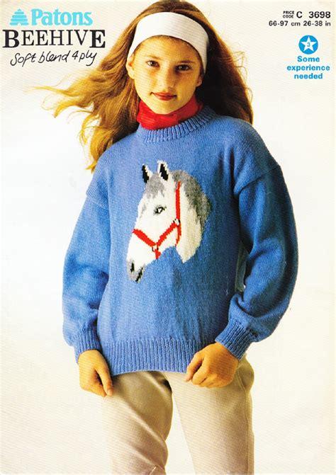 horse pattern jumper patons knitting pattern 3698 girls ladys pony horse