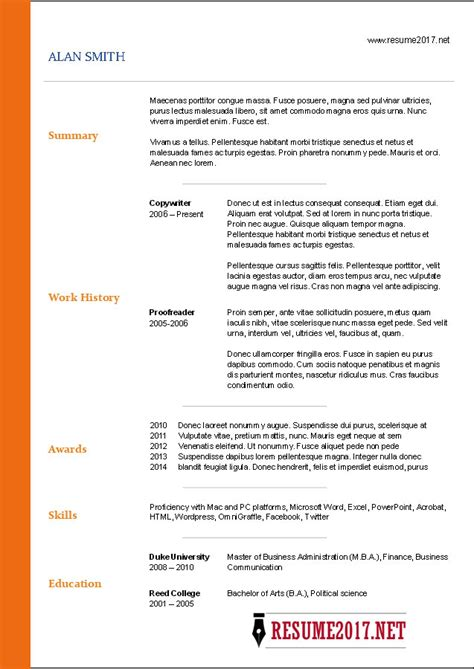Free Resume Templates 2017 It Resume Template 2017