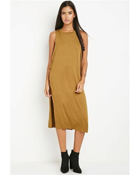 Forever21 Layered Vented Back Dress In Green forever 21 contemporary twist neckline layered dress in orange light olive lyst