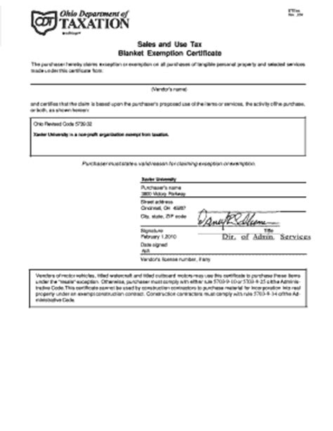 Blanket Exemption Certificate Ohio by Forms Streamlined Sales Tax Pdf