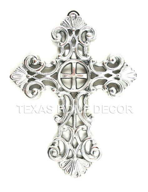 colored cross tattoo pewter fleur de lis wall cross hanging decorative polished