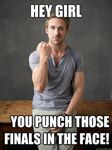 Hey Girls Meme - hey girl you punch those finals in the face ryan