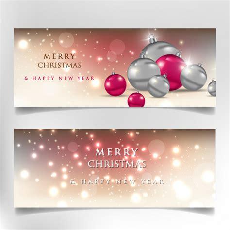 merry christmas  happy  year  banner vector premium