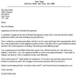 medical receptionist cover letter example cover letters