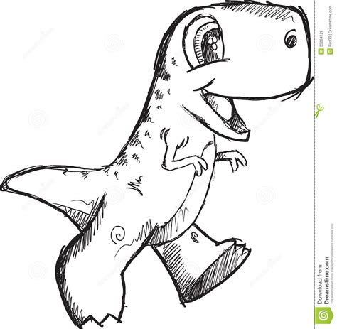 dino doodle doodle dinosaur vector stock vector image 55264128