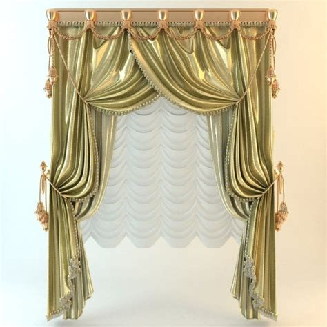baroque curtains elegant baroque wide curtains 3d model cgstudio