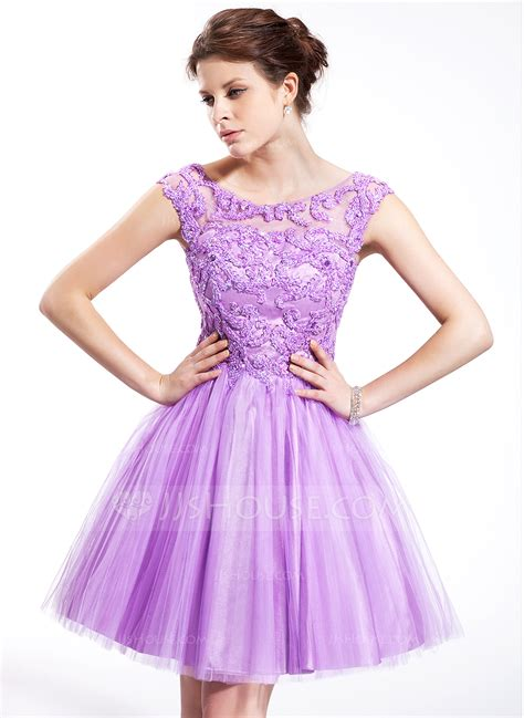A Line/Princess Scoop Neck Knee Length Tulle Homecoming Dress With Beading Sequins (018025268