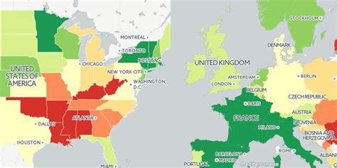 map of usa and europe a map of expectancy in the us and europe indy100