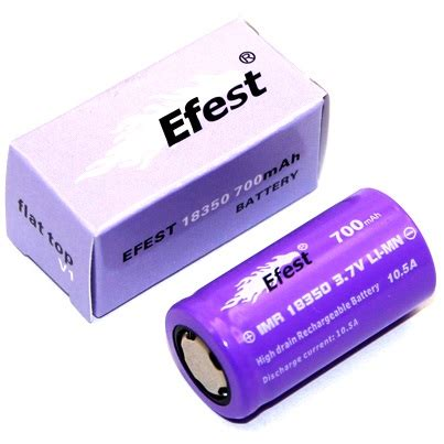 Efest Imr 18350 Battery 700mah 3 7v 10 5a With Flat Top Efest Purple Imr 18350 Li Mn Battery 700mah 3 7v 10 5a With Flat Top 18350p105v1 Purple