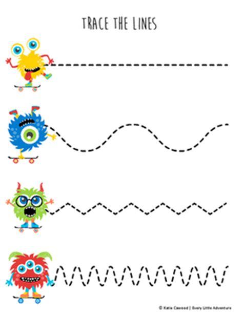 fine motor monster tracing lines   preschool pre writing   tpt