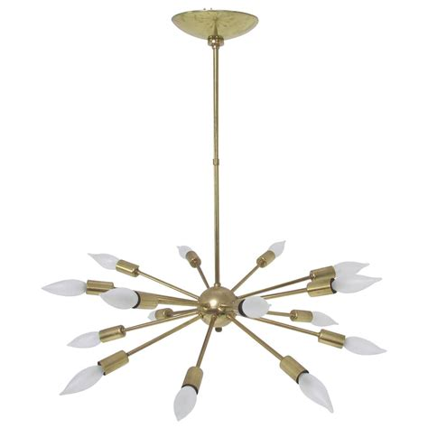 Original Sputnik Chandelier Light Fixture In Brass With Sputnik Pendant Light
