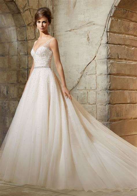 beading a wedding dress tulle ball dress sprinkled with crystal beading morilee