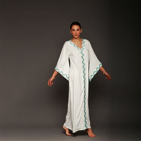 Kaftan White white kaftan with embroidered ribbons vacation