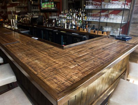 rustic wood bar tops reclaimed boxcar plank bar rustic home bar