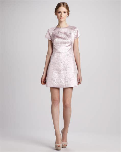 light pink metallic dress tibi paneled metallic jacquard dress in pink pale pink