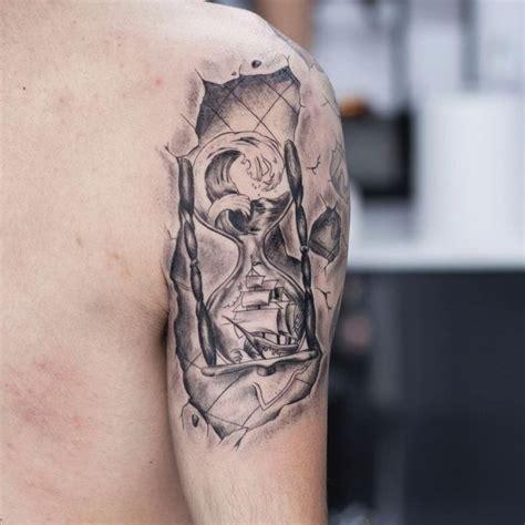 wave tattoo quarter sleeve hourglass tattoo 45 hour glass tattoo ideas to make you