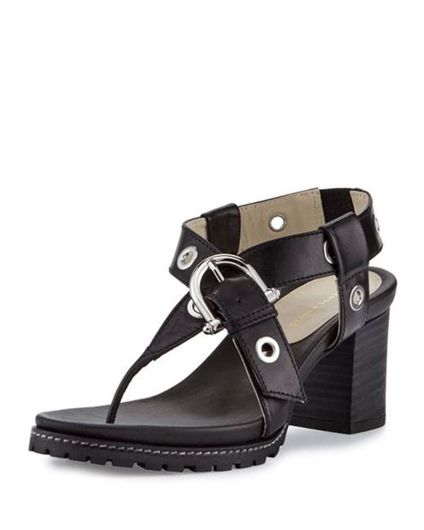 Aigner Leather 9 etienne aigner francis buckle leather sandal in black save 33 lyst