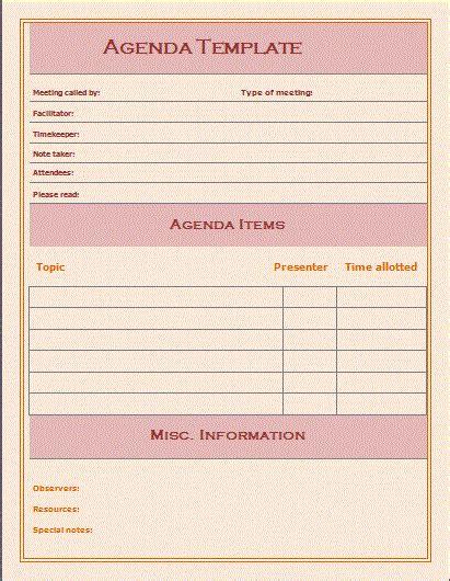 free templates free agenda template free microsoft word templates