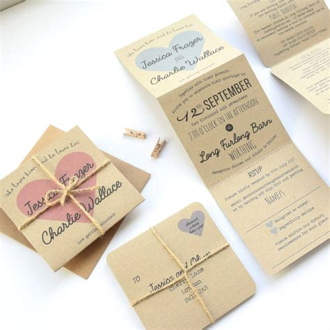 Tri Fold Invitation Paper - recycled tri folded wedding invitation by paper and