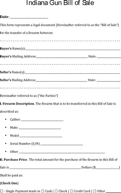 Free Indiana Gun Bill Of Sale Pdf 78kb 4 Page S Firearm Bill Of Sale Template