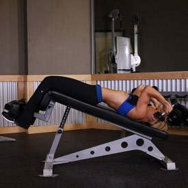 decline bench triceps extension decline dumbbell triceps extension exercise guide and video