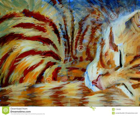 play painting free orange kitten sleeping acrylic painting royalty free