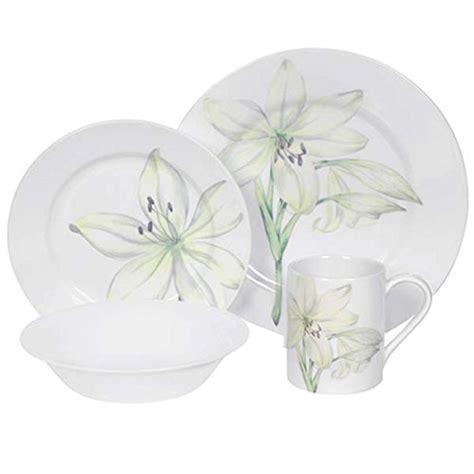 corelle flower pattern corelle impressions white flower 16 piece dinnerware set